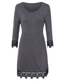 DressLily Sheer Lace Trim Mini Dress