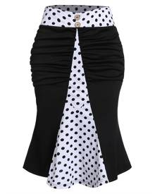 DressLily Polka Dot Print Mock Button Ruched Mermaid Skirt