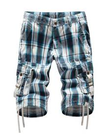 DressLily Zip Fly Plaid Cargo Shorts