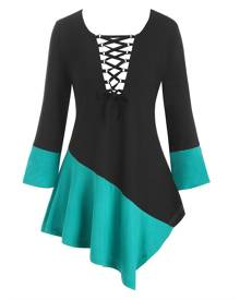 DressLily Lace Up Colorblock Asymmetrical Plus Size Top