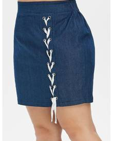 DressLily Plus Size Lace-up High Waisted Mini Denim Skirt