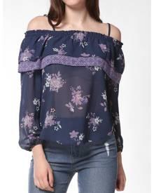DressLily FRENCH BAZAAR Floral Print Strap Cold Shoulder Ruffle Blouse