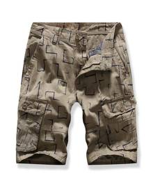 DressLily Printed Multi-pocket Cargo Shorts