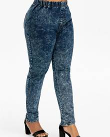 DressLily Plus Size High Rise Tie Dye Jeans
