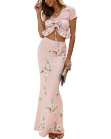 DressLily Ruffle Hem Cinched Crop Top and Maxi Skirt