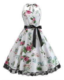 DressLily Halter Floral Butterfly Lace Trim Dress