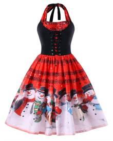 Rosegal Christmas Plus Size Music Notes Halter Neck Dress