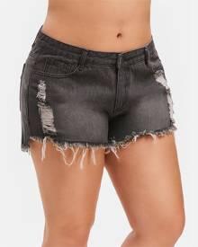 Rosegal Ripped Plus Size Denim Shorts