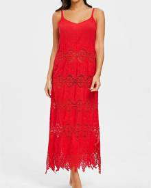 Rosegal Crochet Slip Maxi Cover Up Dress