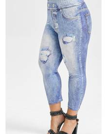 Rosegal Plus Size 3D Ripped Jeans Print Capri Leggings