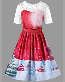 Rosegal Christmas Plus Size Lace Yoke Vintage Swing Dress