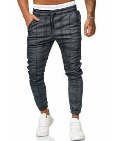 Rosegal Long Plaid Print Casual Side Pocket Jogger Pants