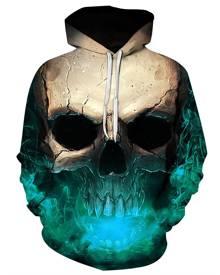 Rosegal 3D Skull Print Pocket Hoodie
