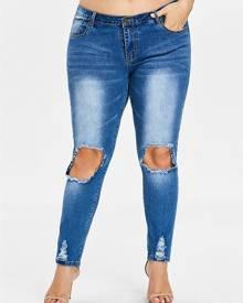 Rosegal Plus Size Threadbare Holes Skinny Jeans