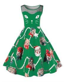 Rosegal Christmas Plus Size Kitten Pattern Swing Dress