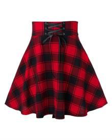 Rosegal Plus Size Plaid Lace Up A Line Skirt