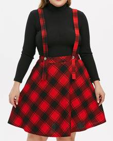 Rosegal Plus Size Plaid Suspender Midi A Line Skirt