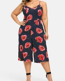 Rosegal Plus Size Cut Out  Floral Cami Capri Palazzo Jumpsuit
