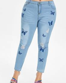Rosegal Plus Size Butterfly Embroidered Ripped Jeans