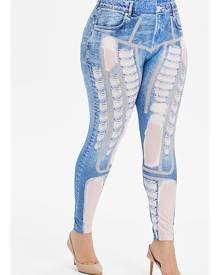 Rosegal Plus Size Ripped 3D Print Faux Denim Leggings