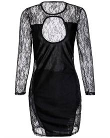 Rosegal Cut Out Lace Long Sleeve Mini Bodycon Dress