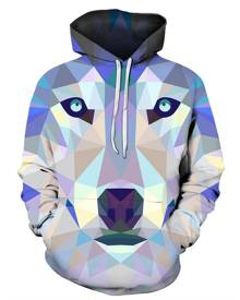Rosegal Geometric Animal Print Pocket Hoodie