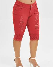 Rosegal Plus Size Ripped Knee Length Jeans