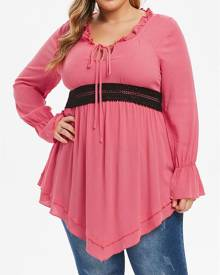 Rosegal Plus Size Ruffle Front Tie Contrast Lace Tunic Blouse