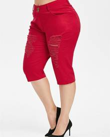 Rosegal Plus Size Zipper Fly Ripped Jeans