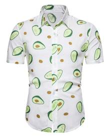 Rosegal Avocado Print Short Sleeve Hawaii Shirt