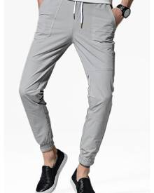 Rosegal Drawstring Solid Color Jogger Pants
