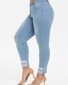 Rosegal Plus Size Lace Trim Skinny Ninth Ripped Jeans