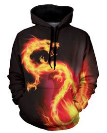 Rosegal Fire Dragon Graphic Front Pocket Casual Hoodie