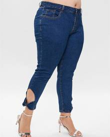 Rosegal Plus Size Bowknot Cut Out Skinny Jeans