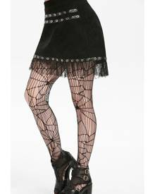 Rosegal Lace PU Panel Grommet Mini Skirt
