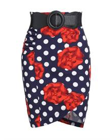 Rosegal Floral Polka Dot Print Belted Bodycon Skirt