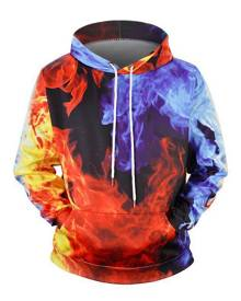 Rosegal Fire Graphic Front Pocket Drawstring Hoodie