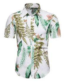 Rosegal Hawaii Leaf Print Button Up Shirt