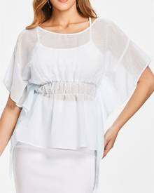 Rosegal Batwing Sleeve Peplum Blouse with Tank Top