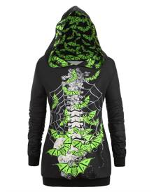 Rosegal Plus Size Neon Bat Skeleton Print Halloween Gothic Hoodie