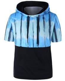 Rosegal Tie Dye Drawstring Short Sleeve Hoodie