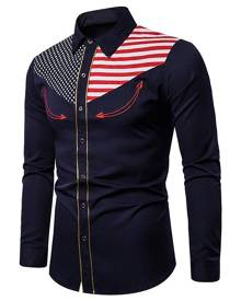 Rosegal American Flag Star and Stripes Embroidery Contrast Trim Shirt