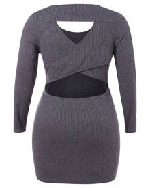 Rosegal Plus Size Cut Out Bodycon Knit Dress