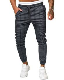 Rosegal Plaid Print Drawstring Tapered Jogger Pants