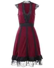 Rosegal Lace Trim Color Block Vintage Dress
