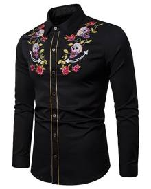 Rosegal Embroidery Flower Skull Contrast Trim Halloween Shirt