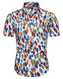 Rosegal Colorful Leaf Print Button Up Hawaii Shirt