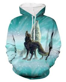 Rosegal Animal Wolf Print Pocket Hoodie