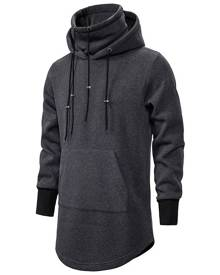 Rosegal Drawstring Front Pocket Longline Fleece Gothic Hoodie