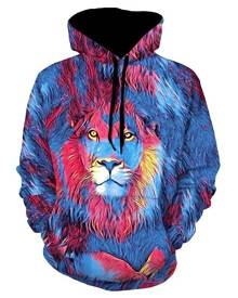 Rosegal Lion Paint Graphic Front Pocket Casual Hoodie